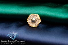 14K Gold Ring with 1.9 ct Pearl and 1.12 ct Belgium Cut Diamonds