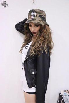 Black Leather Jacket with Bucket Hat Fashion of Kim Hyuna