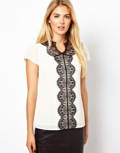 26855d99235f5 Ted Baker Ivory Woven Top with Contrast Lace Panel Asos Tops