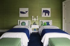 Boy's Rooms - Navy Blue Boy's Bedrooms - Design photos, ideas and inspiration. Amazing gallery of interior design and decorating ideas of bedrooms, nurseries, boy's rooms by elite interior designers - Page 4 Green Boys Room, Living Room Green, Bedroom Green, Living Rooms, Green Rooms, Room Color Schemes, Room Colors, Paint Colors, Boys Room Design