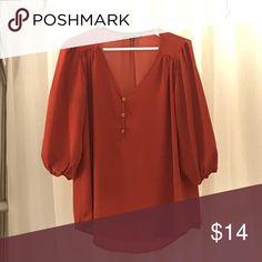 Burgundy 3/4 sleeve blouse Flowy burnt burgundy blouse   100% polyester Living Doll Tops Blouses