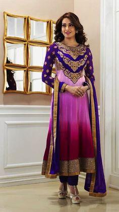 $80 Bipasa Basu in Pink Anarkali Style Bollywood Anarkali Salwar Suit 24627