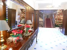 The entrance hall at Lough Eske Castle Donegal, Entrance Hall, Xmas, Christmas, All Things, Ireland, Castle, Table Decorations, Home Decor