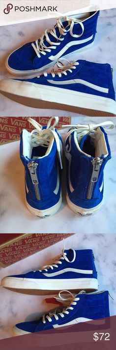 low priced b6c78 1ac03 ... Suede Hi-Tops super fun and hard to find! new with box Slim Blue suede  zip back hi-tops. suede has scotch guard treatment also. no trades Vans  Shoes ...