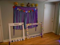 Social media or emoji themed birthday #socialmediabirthday Backdrop is plastic table clothes cut to make fringe. Poster boards found at hobby lobby. Details on poster boards all Google images enlarged and printed