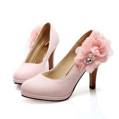 Faux Leather Side Flower And Pearl Decor Heels @ MayKool.com
