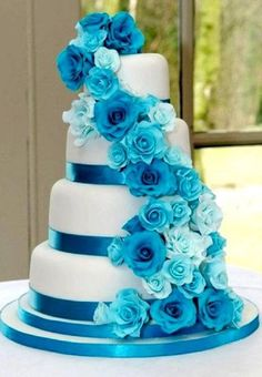 Trendy wedding cakes blue and silver black ribbon Purple Wedding Cakes, Beautiful Wedding Cakes, Gorgeous Cakes, Pretty Cakes, Blue Wedding, Trendy Wedding, Wedding Colors, Dream Wedding, Wedding Ideas