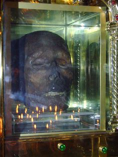 the head of St.Oliver Plunkett on permanent display at St.Peter's Church,in Drogheda Ireland. this gave me so many nightmares as a kid