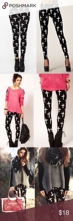 """⭐️COMING SOON⭐️ Cross Print Leggings Beautiful and comfortable black leggings with with cross pattern. Great to pair with black boots and a cute top! One Size fits up to size 12 comfortably! 🖤 92% Polyester, 8% Spandex.  Length: 36"""", Inseam: 26""""  ➡️No Trades. ➡️No Lowball Offers. ➡️No Holds. ➡️Bundle and save!  ✨LIKE THIS LISTING to be one of the first to know when these arrive!✨ Pants Leggings"""