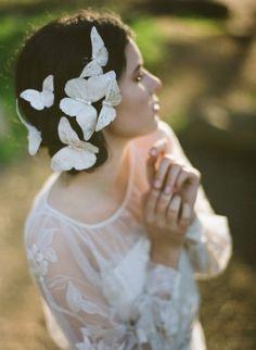 Fairytale fashion fantasy / karen cox.  ♔ Butterflies fairy tale fashion in white
