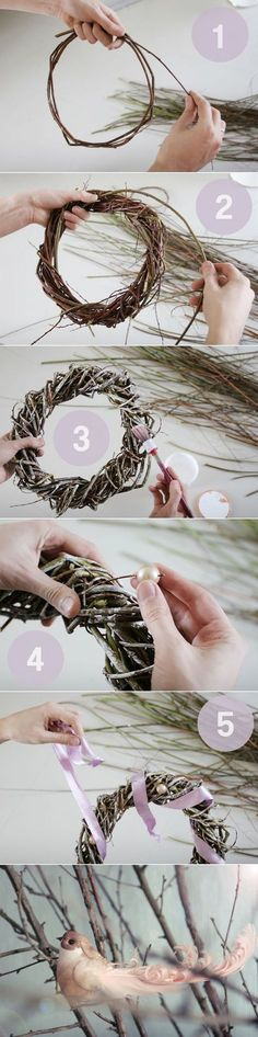 minimalistisc christmas wreath with pink ribbon or could make into an all year round wreath Wreath Crafts, Xmas Crafts, Diy Wreath, Decor Crafts, Diy And Crafts, Christmas Art, Simple Christmas, Christmas Decorations, Christmas Ornaments