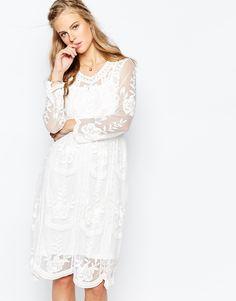 Image 1 ofNavy London Baroque Lace Midi Dress with Slip
