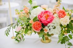 coral peony coral garden rose gold urn wedding centerpiece coral and peach…