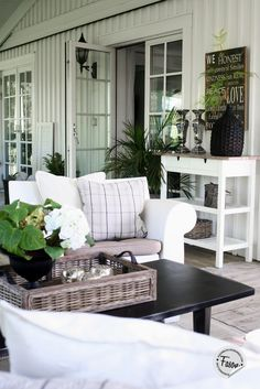 New England style / Coastal living / Outdoor Rooms, Outdoor Living, Outdoor Furniture Sets, Outdoor Decor, Adirondack Furniture, New England Style, New England Homes, Coastal Living Rooms, Living Spaces