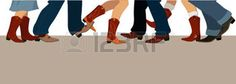 square dancing: Horizontal banner with male and female legs in cowboy boots dancing country western, vector illustration, no transparencies, copy space at the bottom