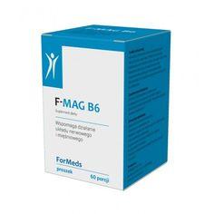 Suplement diety F-MAG B6:  zawiera magnez (cytrynian) oraz witaminę B6 w formie proszku. nie zawiera substancji wypełniających, konserwantów, barwników, słodzików. charakteryzuje się bardzo wysoką przyswajalnością. Działanie:  Magnez wspomaga funkcjonowanie układu mięśniowego oraz pomaga utrzymać prawidłową równowagę elektrolitową. Wspiera prawidłowe działanie układu nerwowego oraz przyczynia się do zmniejszenia uczucia zmęczenia i znużenia.