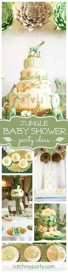 Don't miss this fantastic Jungle baby shower! The cake is so beautifully decorated! Love the animals! See more party ideas and share yours at CatchMyParty.com
