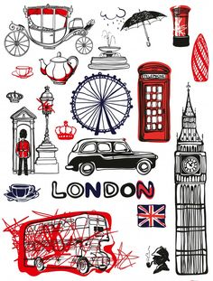 Printable Stickers, Cute Stickers, Wall Stickers, Vinyl Decals, Wall Decals, Wall Art, Theme Anglais, London Logo, London Illustration
