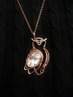 Owl necklace wire copper jewelry opal pendant by UrsulaJewelry