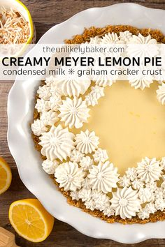 [VIDEO RECIPE] Easy Meyer lemon pie with condensed milk – perfectly sweet and tangy, luxuriously smooth and silky. Every bite of this creamy Meyer lemon pie is a burst of bright and vibrant citrus flavour. pies Easy Meyer Lemon Pie with Condensed Milk Meyer Lemon Recipes, Lemon Dessert Recipes, Tart Recipes, Easy Desserts, Meyer Lemon Meringue Pie Recipe, Drink Recipes, Cheesecakes, Lemon Bar, Sauces