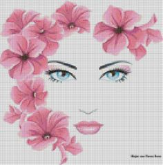 0 point de croix visage de fille avec fleurs dans les cheveux - cross stitch girl's face with flowers in hair