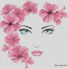 0 point de croix visage de fille avec fleurs dans les cheveux - cross stitch girl's face with flowers in hair