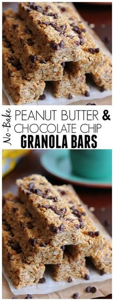 Super sweet and mine had a little trouble staying together but with adjustment a very good recipe and taste. These Peanut Butter and Chocolate Chip Granola Bars are no bake and so incredible chewy and soft! Way better than store bought! Granola Bars Peanut Butter, Chocolate Chip Granola Bars, Chocolate Peanut Butter, Chocolate Chips, Healthy Bars, Healthy Sweets, Healthy Shakes, Eating Healthy, Clean Eating