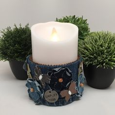 Buy Me on URCRafti.com! Flameless Candle - Denim Candle Holder by Donna Braden At least Pin Me so everyone can see!
