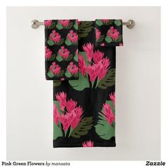Shop Pink Green Flowers Bath Towel Set created by mansata. Bath Towel Sets, Bath Towels, Succulents Diy, Green Flowers, Floral Tie, Pink And Green, Print Design, Art Pieces, Vibrant
