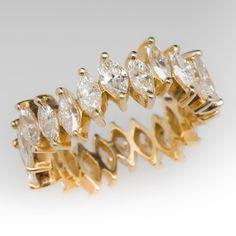 Marquise Diamond Eternity Band Ring 4 Carats 18K
