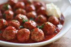 Crock Pot Italian Turkey Meatballs - Crock pots are so convenient, plug them in and by half-time dinner's ready!