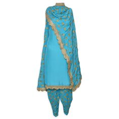 Attractive firoji unstitched suit adorn in zari leaf embroidery and scalloped gota-Mohan's the chic window Ethnic Fashion, Indian Fashion, Indian Ethnic Wear, Ethnic Style, Designer Punjabi Suits, Kamiz, Indian Suits, The Chic, Fashion Outfits