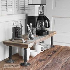 Learn how to make this shelf HERE Coffee Corner, Coffee Time, Funky Junk Interiors, Woodworking Projects Diy, Drip Coffee Maker, Kettle, Home Projects, Kitchen Appliances, Shelves