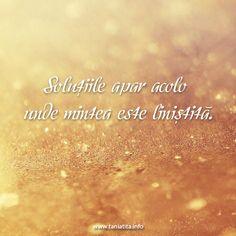 Solutiile apar acolo unde mintea este linistita... http://taniatita.info/newsletter - Tania Tita