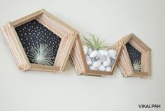 Are you bored of seeing popsicle stick hexagon shelf ideas? Why not try a new shape with the craft sticks? I tried a pentagon-shaped shelf and it turned out cut… Craft Stick Crafts, Craft Sticks, Popsicle Crafts, Diy Dining Room Table, Diy Hanging Planter, Painting Tile Floors, Faux Beams, Hexagon Shelves, Chores For Kids