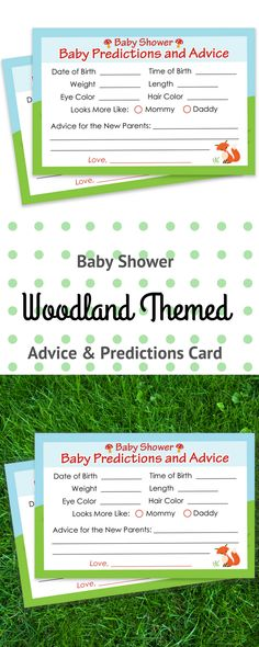 Baby Shower Advice and Predictions Cards - for Up to 20 Guests.Woodland Animals Theme is Perfect for Outdoor Baby Showers, Boy Baby Showers, or Gender Neutral Baby Showers. #woodlandbabyprediction #babyshowergame #woodlandbabyshower #woodlandanimals