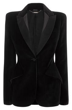 Alexander McQueen - Velvet 1-Button Jacket