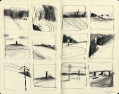 Landscape Sketch, Landscape Drawings, Art Sketches, Art Drawings, Graphic Novel, Thumbnail Sketches, Artist Sketchbook, Moleskine Sketchbook, Art Et Illustration