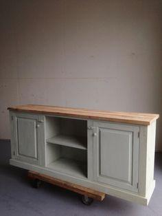 Rustic French Farmhouse Country Sideboard Buffet Cabinet Console Reclaimed Oak Pine Sea Foam Green - - Botanist Sideboard