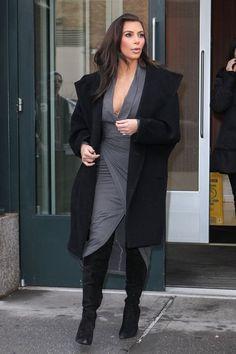 Kim Kardashian wearing Donna Karan Draped Plunging-Neck Dress in Pewter Alexander Wang Suede Sofia Knee Boots