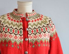 Vintage Nordic Fair Isle Cardigan / Norwegian by zestvintage Fair Isle Knitting, Hand Knitting, Icelandic Sweaters, Fair Isle Pattern, Knit In The Round, Knitting Videos, Wool Sweaters, Knitted Hats, Knit Crochet