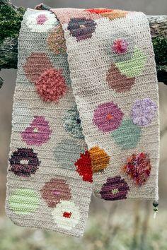 Jacquard Crochet Scarf  Autumn Flowers by TijaCrochet on Etsy