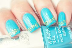 IsaDora - Bel-Air Blue swatch review blue nail polish gold floral lace nail art tips manicure