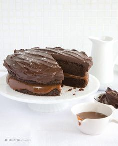 Totally have to make this.  Office Holiday Bake-off winner? salted caramel and chocolate cake