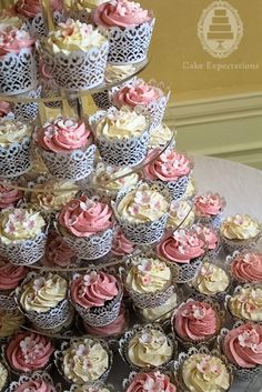 Cupcake tower with vanilla and strawberry buttercream by Cake Expectations