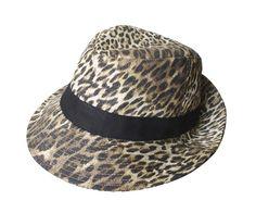 Chapéu em brim com estampa animal print e faixa contrastante.