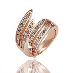zacoo Rose Gold Plated Ring Finger Rings Set Shining Clear Crystal Fashion Jewelry Size 8 - Jewelry For Ladies Bling Bling, Rose Gold Diamond Ring, Wedding Rings Rose Gold, Wedding Band, Silver Ring, Crystal Wedding, Wedding Engagement, Womens Jewelry Rings, Women Jewelry