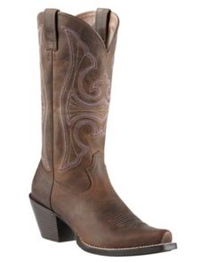 Ariat Round Up Women's Distressed Brown Snip Toe Western Boot