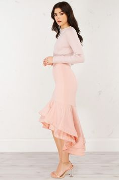 side View Ruffled Mermaid Skirt in Mauve