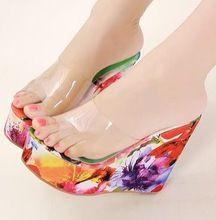 Nueva moda transparente plataforma tacones de cuña sandalias de mujer sexy  zapatillas jalea verde + rosa. Zapatos ... cd3f2b507de7
